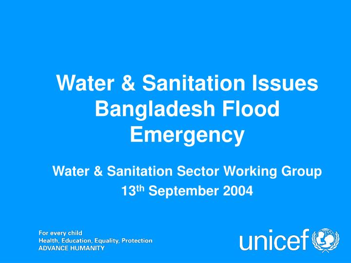 Water sanitation sector working group 13 th september 2004