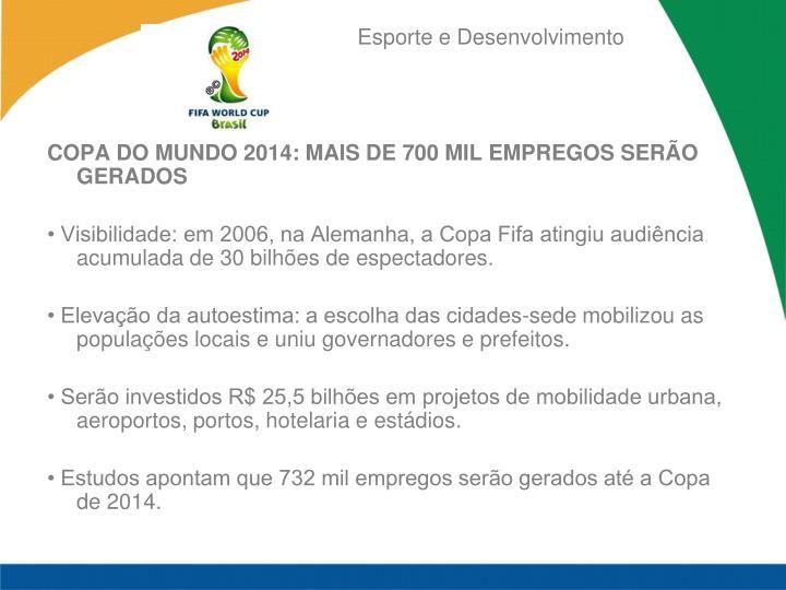 COPA DO MUNDO 2014: MAIS DE 700 MIL EMPREGOS SERÃO GERADOS