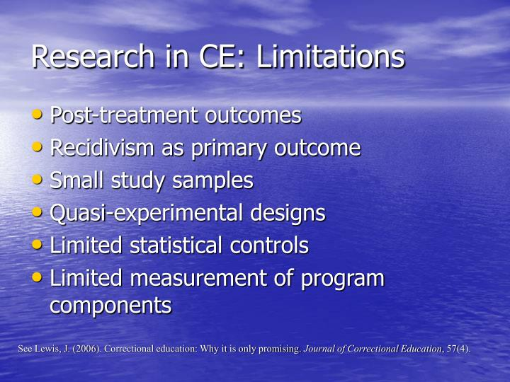 Research in CE: Limitations