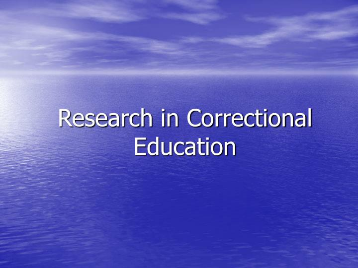 Research in correctional education