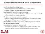 current hep activities areas of excellence