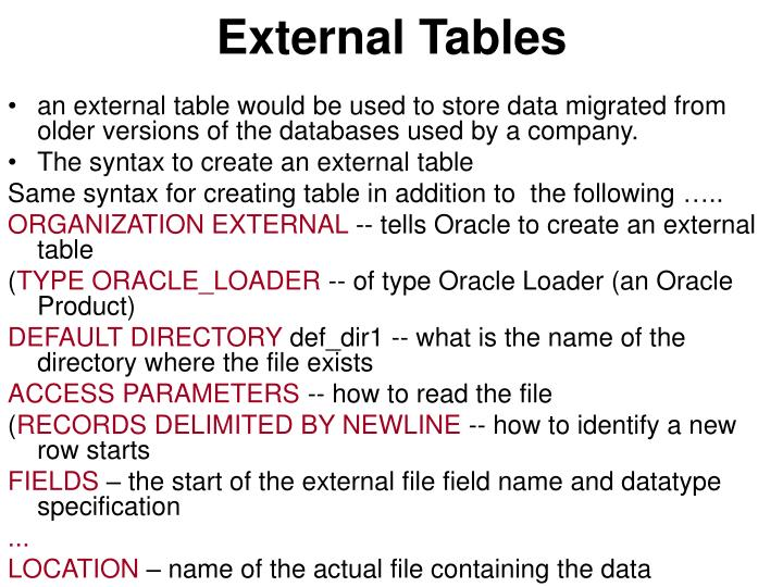 External Tables