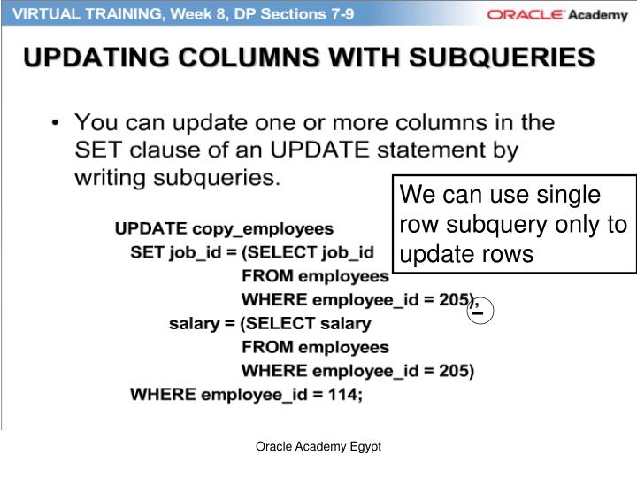 We can use single row subquery only to update rows