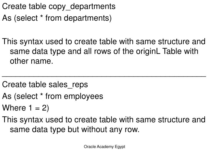 Create table copy_departments