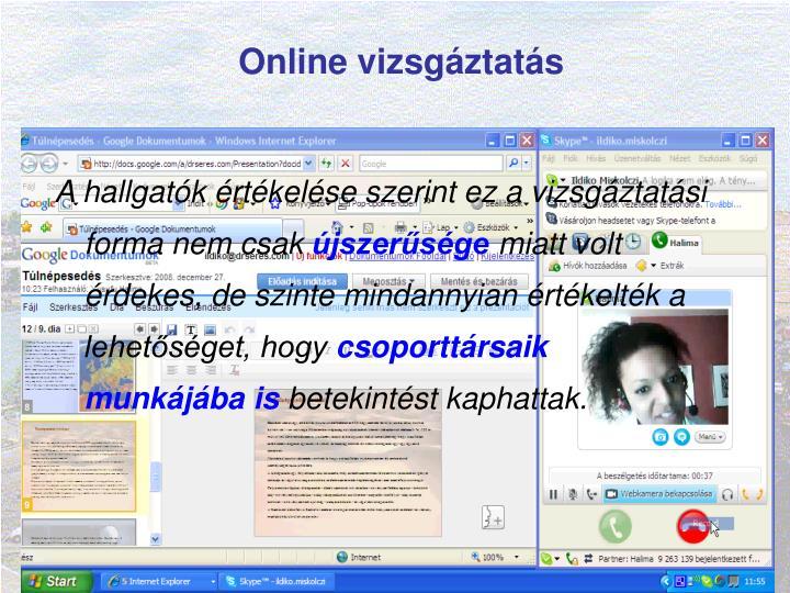 Online vizsgáztatás