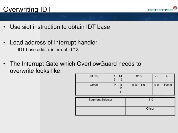 Overwriting IDT