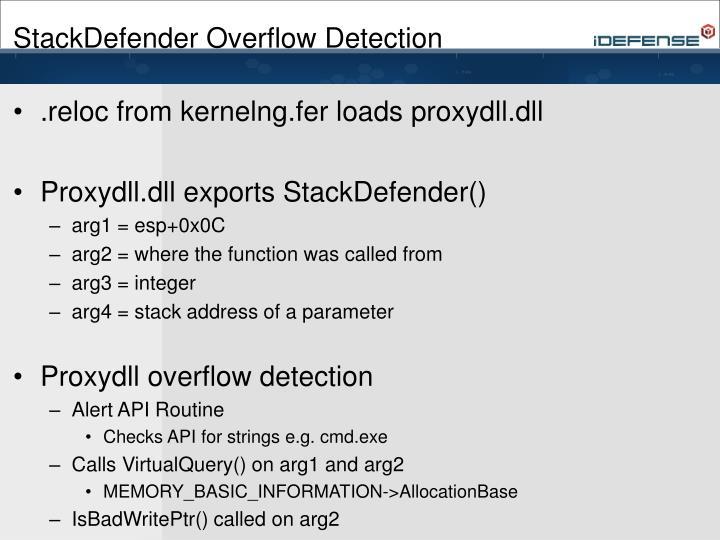 StackDefender Overflow Detection