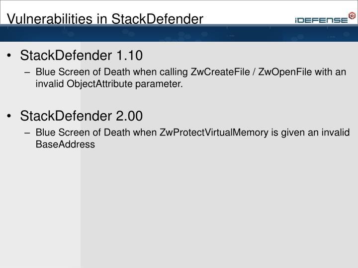 Vulnerabilities in StackDefender