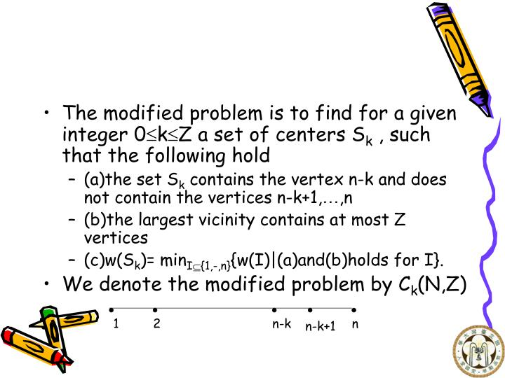 The modified problem is to find for a given integer 0