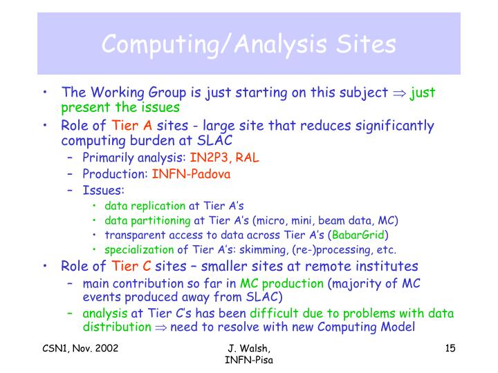 Computing/Analysis Sites