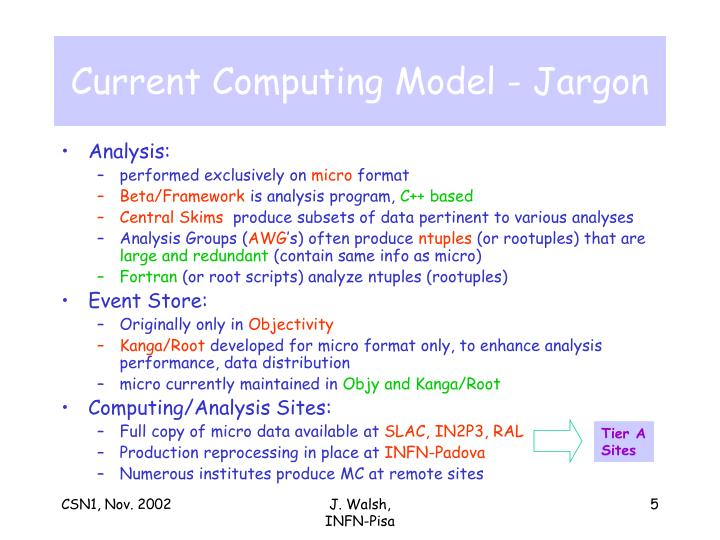 Current Computing Model - Jargon