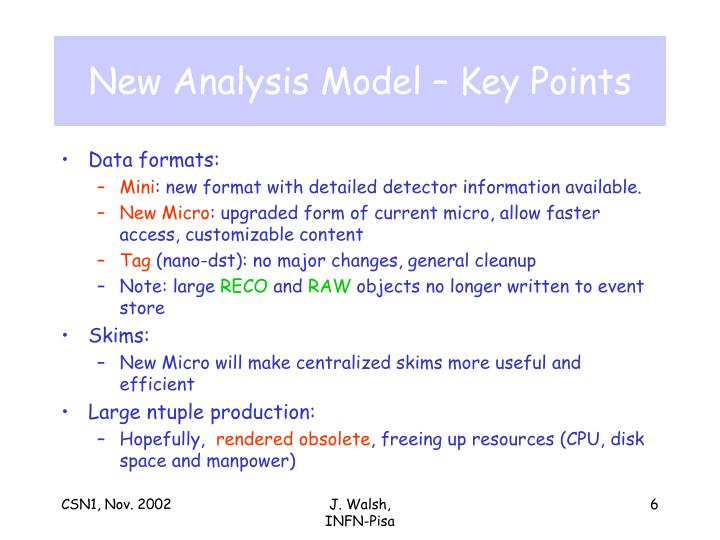 New Analysis Model – Key Points
