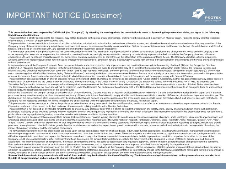 Important notice disclaimer