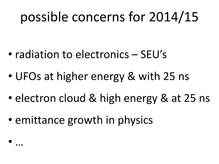 possible concerns for 2014/15