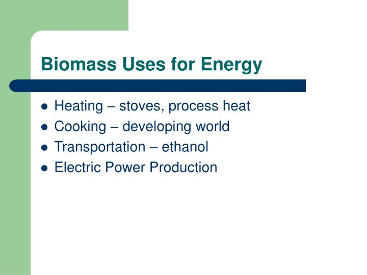Biomass Uses for Energy