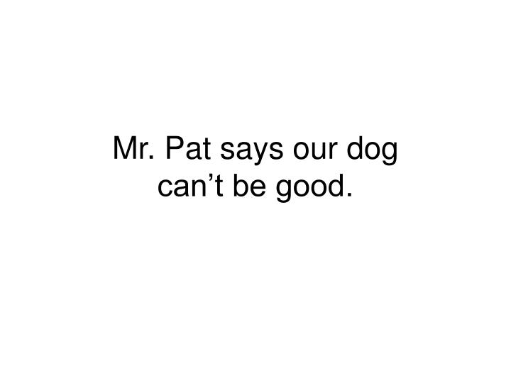 mr pat says our dog can t be good n.