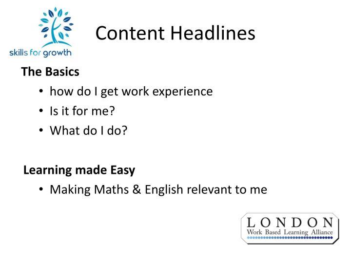 Content Headlines