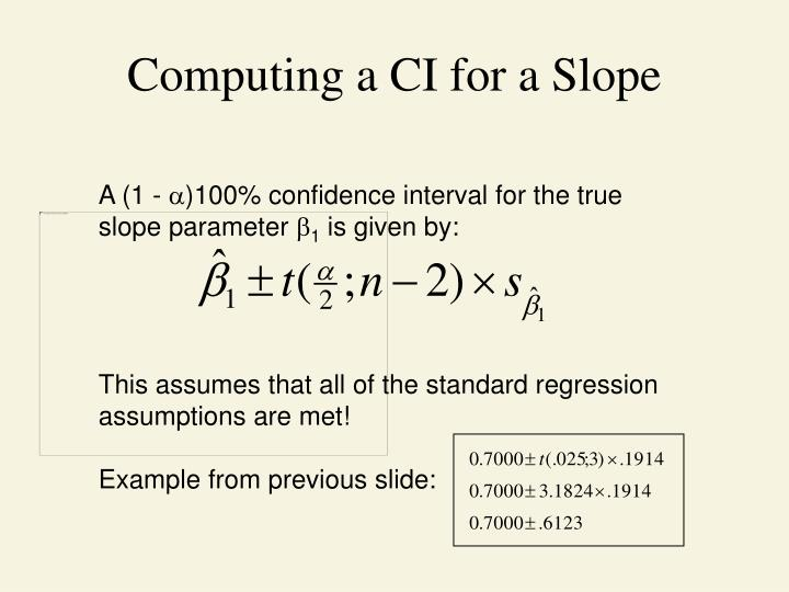 Computing a CI for a Slope