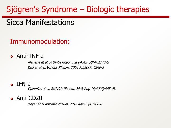 Sjögren's Syndrome – Biologic therapies