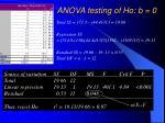 anova testing of ho b 0