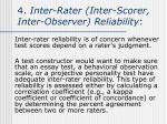 4 inter rater inter scorer inter observer reliability