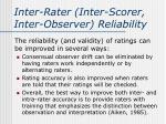 inter rater inter scorer inter observer reliability3