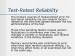 test retest reliability