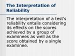 the interpretation of reliability
