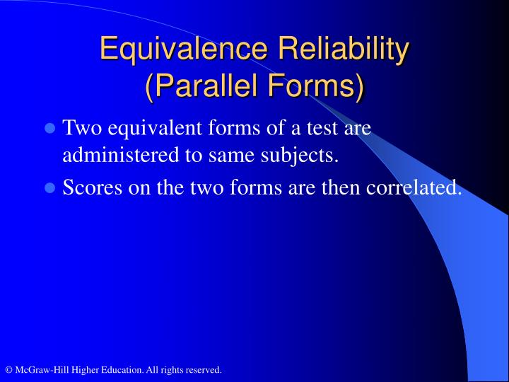 Equivalence Reliability (Parallel Forms)