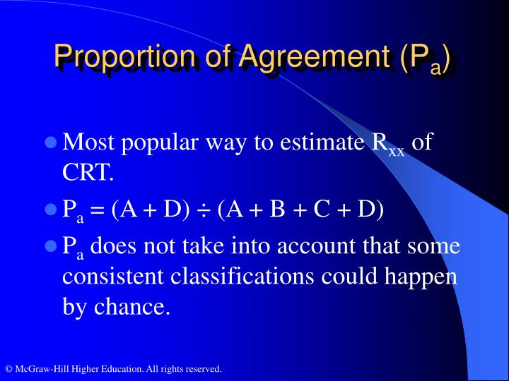 Proportion of Agreement (P