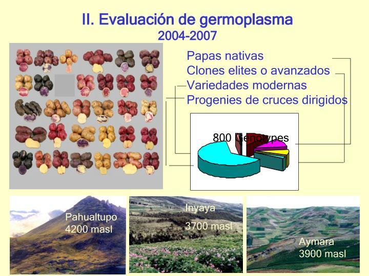 II. Evaluación de germoplasma