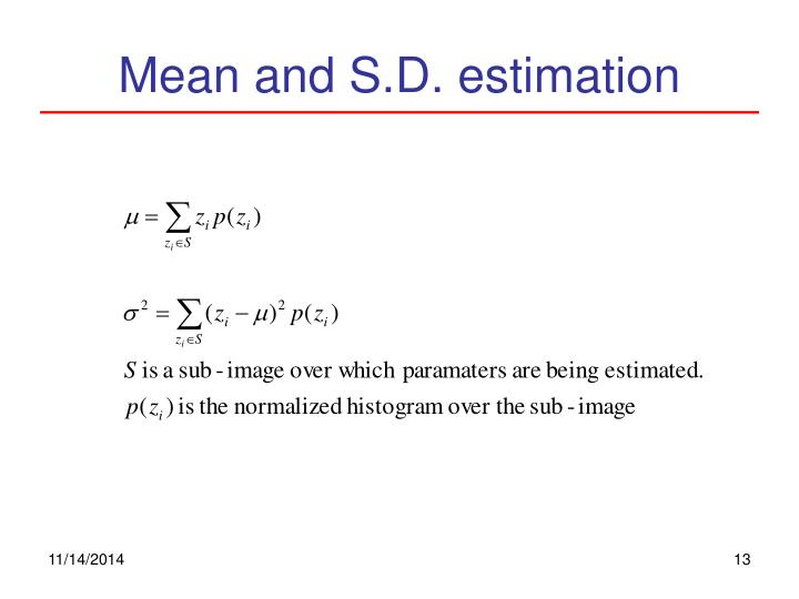 Mean and S.D. estimation