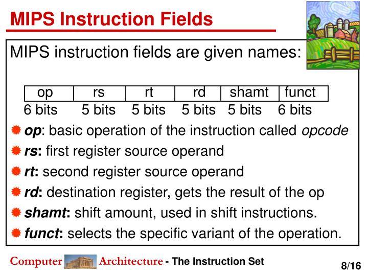 MIPS Instruction Fields