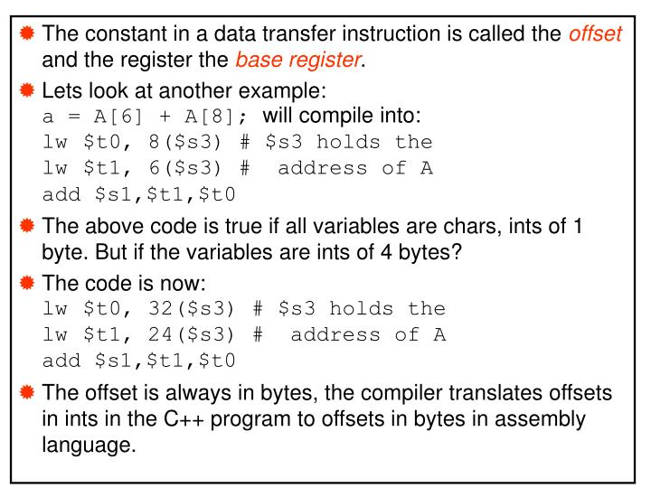 The constant in a data transfer instruction is called the