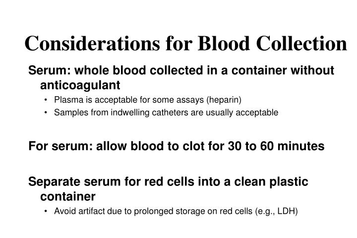 Considerations for Blood Collection