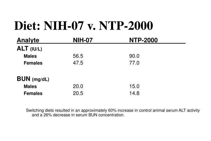 Diet: NIH-07 v. NTP-2000