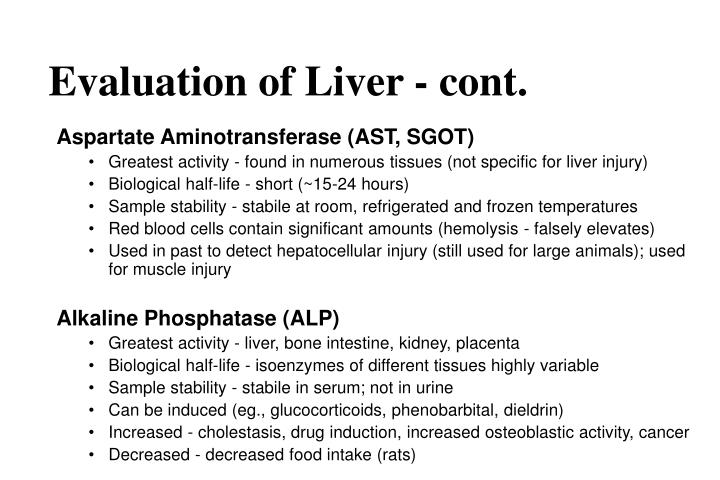 Evaluation of Liver - cont.