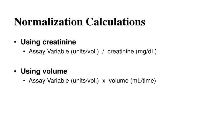 Normalization Calculations
