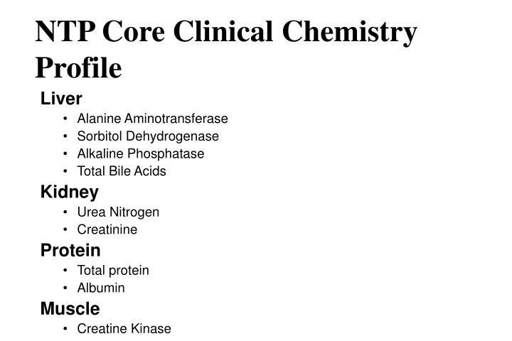NTP Core Clinical Chemistry Profile