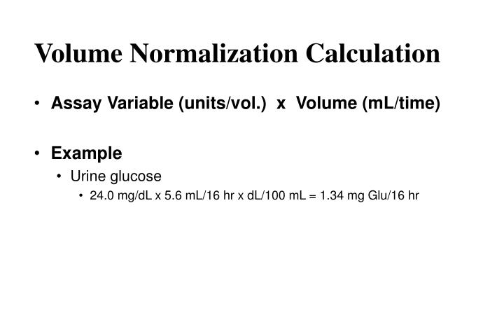 Volume Normalization Calculation