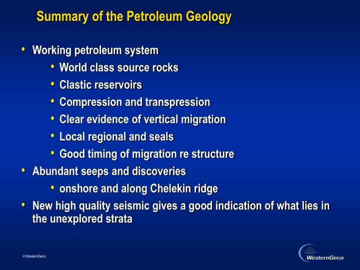 Summary of the Petroleum Geology
