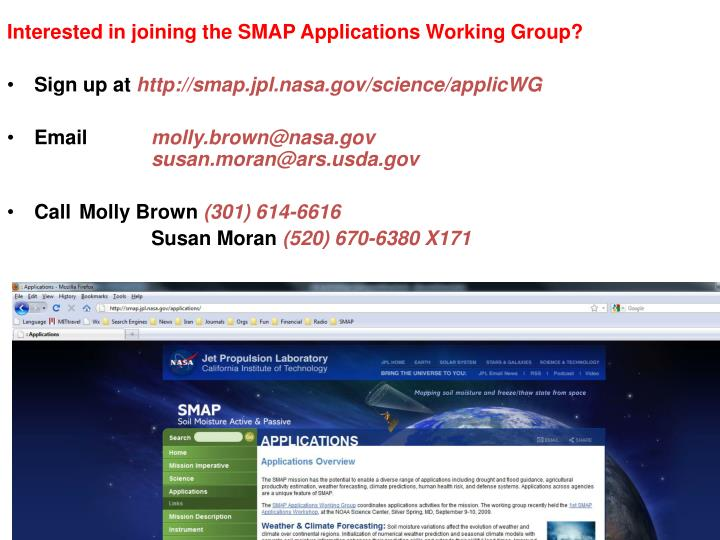 Interested in joining the SMAP Applications Working Group?