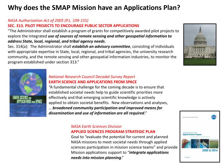 Why does the SMAP Mission have an Applications Plan?