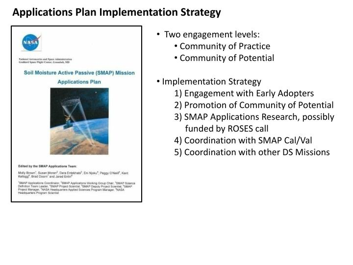 Applications Plan Implementation Strategy