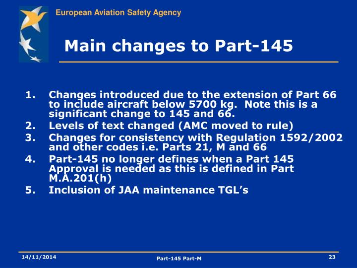 Main changes to Part-145