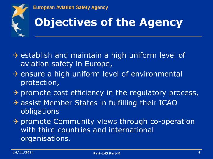 Objectives of the Agency