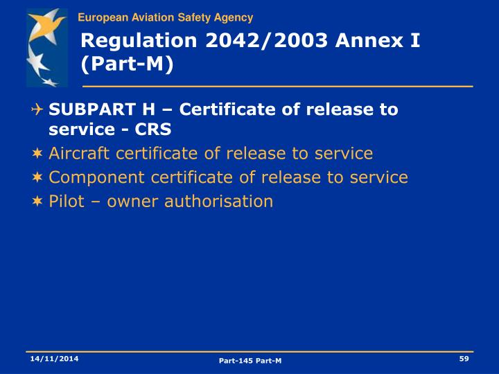 Regulation 2042/2003 Annex I (Part-M)