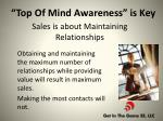 sales is about maintaining relationships