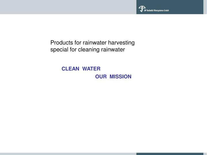 Products for rainwater harvesting