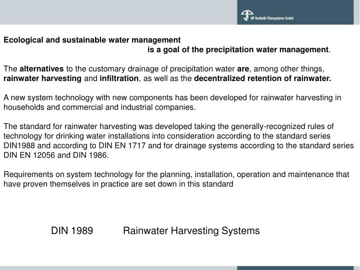 Ecological and sustainable water management